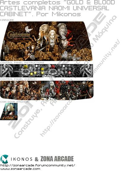 "Artes completos ""Gold & Blood Castlevania Naomi Universal Cabinet"""