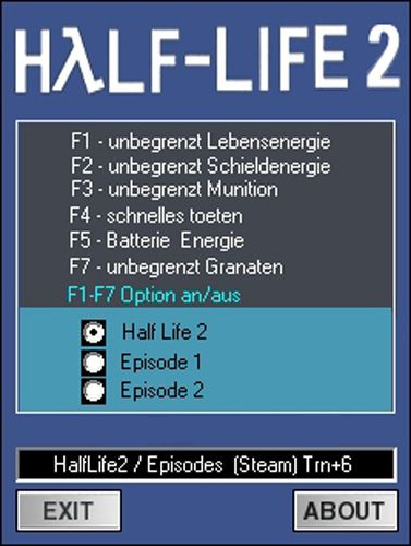 halflife2trainer Half Life 2 + Episodes 1 and 2 (Steam) +6 Trainer