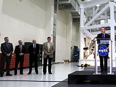 Image above: Bob Cabana, director of the<br /> Kennedy Space Center, speaks to members<br /> of the news media standing in front of<br /> the Orion spacecraft being prepared for<br /> Exploration Flight Test-1 in 2014. Also<br /> participating in the briefing are, from<br /> the left, Scott Colloredo, chief<br /> architect for the Ground Systems<br /> Development and Operations Program, Keith<br /> Hefner, Space Launch System program<br /> planning and control manager, Mark Geyer,<br /> Orion program manager, and Dan Dumbacher,<br /> deputy associate administrator for<br /> Exploration Systems Development.<br /> Photo Credit: NASA<br /> <a href='http://www.nasa.gov/images/content/741775main_bob_cabana_speaking_to_media-full.jpg' class='bbc_url' title='External link' rel='nofollow external'>� Larger Image</a>